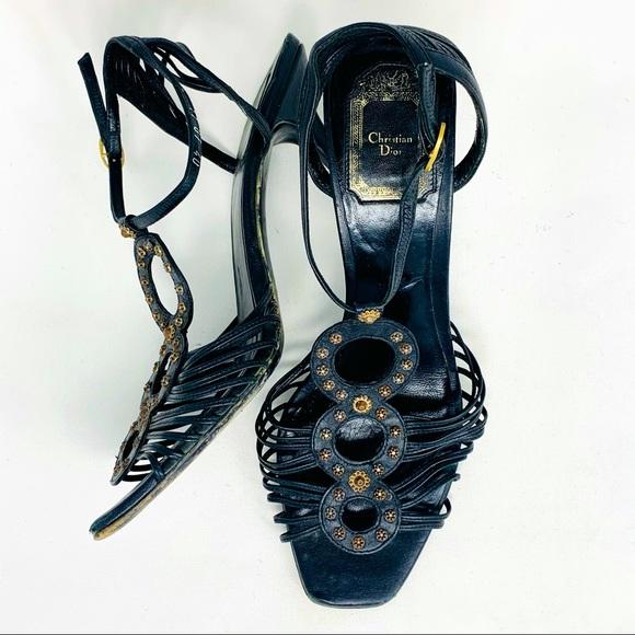 CHRISTIAN DIOR 40 Black strappy heeled sandal C